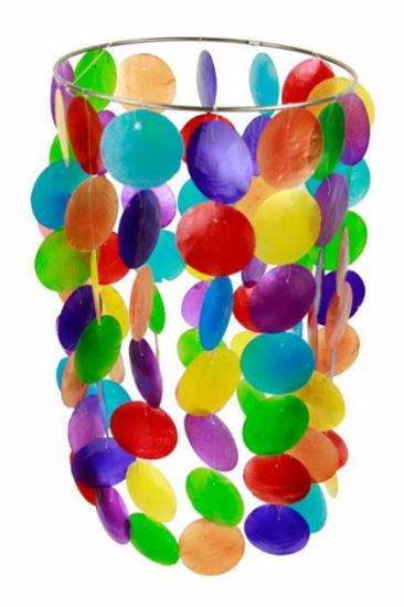 Farbiges Chakra Windspiel Capiz-Schale - groß